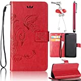 Samsung Galaxy S4 Case, Bonice 3 in 1 Accessory PU Leather Flip Practical Book Style Magnetic Snap Wallet Case with [Card Slots] [Hand Strip] Premium Multi-Function Design Cover + Stylus Pen + Diamond Red Rhinestone Butterfly Antidust Plug, Scarlet