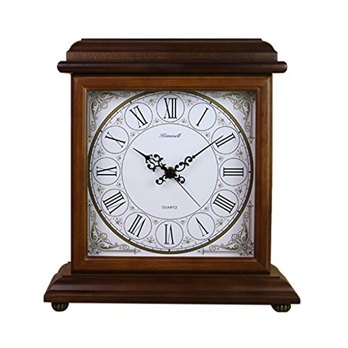 LANNA SHOP- American retro Mantle Table clock Non-Ticking Silent wooden desk clocks for living room/office (Color : ()