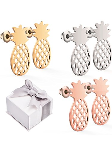 TOODOO 3 Pairs Pineapple Stud Earrings Tropical Fruit Jewelry Pineapple Jewelry with Gift Box for Women and Girls, 3 Colors (A Pencil Pineapple Special With)
