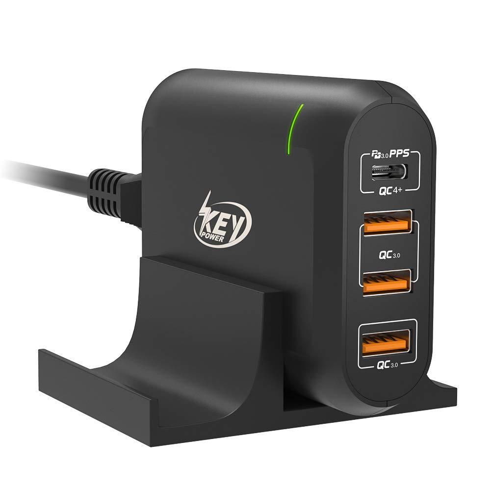 USB C Wall Charger, Key Power 66W USB C Charging Station with 60W PD Fast Charger & 3-Port Quick Charge 3.0 for USB-C Laptop, MacBook pro/air, iPad, iPhone pro/max/xr/xs/x, Galaxy, Pixel and More