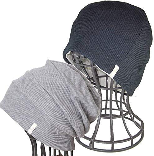 抗がん剤帽子 医療用帽子/オーガニックコットン ワッフル風車ワッチ 黒 と段々ワッチ杢グレーセット