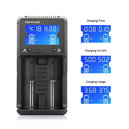 2-slot Battery Charger, DBPOWER LCD Display Speedy Battery Charging Smart Charger for Rechargeable Batteries Ni-MH Ni-Cd AA AAA Li-ion LiFePO4 IMR 26650 18650 18490 17335 16340 10440