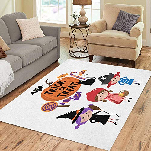 Pinbeam Area Rug Red Party Halloween Trick Treat Kids Autumn Candy Home Decor Floor Rug 3' x 5' Carpet ()