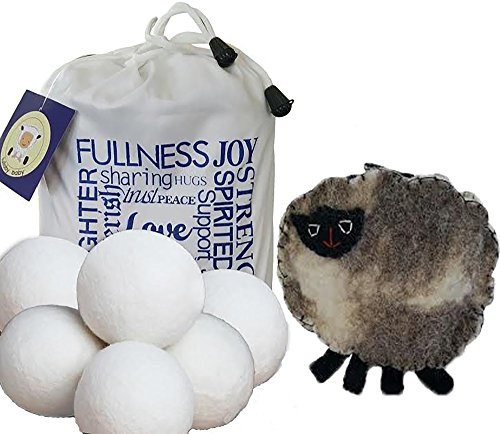 Wool Dryer Balls 6 chuck dismiss XL with FREE BONUS ~ 100% Certified Organic New Zealand Wool, Anti-Static, Reduces Drying Time, Reusable Accepted Fabric Softener ~ Bonus Handmade Sheep Coin Purse and E-Book