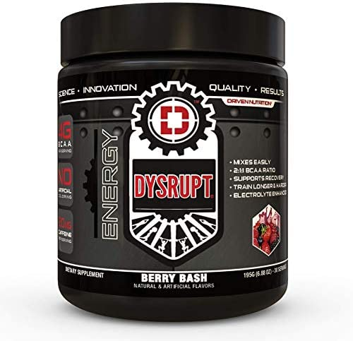 DYSRUPT BCAA Caffeine with Electrolytes Sugar Gluten Free Supplement- Improve Recovery, Burn More Fat, Increase Endurance, and Achieve Greater Focus Berry Bash
