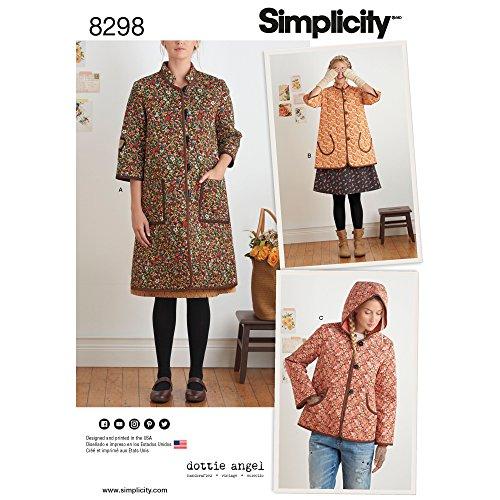 Simplicity Pattern 8298 Misses Coat and Jacket by Dottie Angel, Size (Angel Pattern)