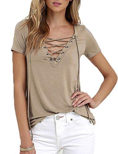 glomeen-womens-summer-short-sleeve-lace-up-casual-basic-t-shirt-tops-l-khaki