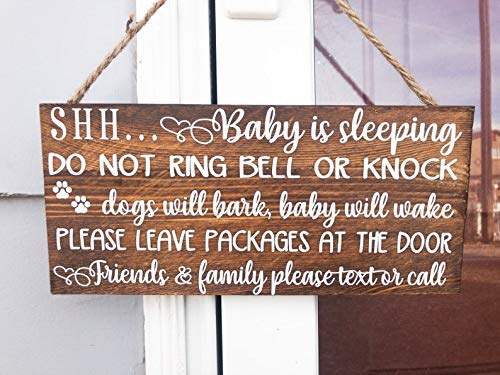 Shh Baby is Sleeping do not Ring Bell or Knock, Dogs Will bark, Baby Will Wake, Please Leave Package at The Door. Wooden Front Door Sign by Custom_Sign