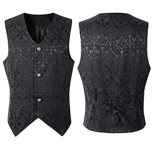 Nobility Baby Men's VTG Brocade Gothic Steampunk Tuxedo Vest Waistcoat (L, Black) -