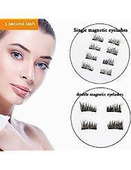 Meijiada Magnetic Eyelashes No Glue - Dual Magnets Natural False Eyelashes 3 Second Lash 3 D Eyelash (8 piece)