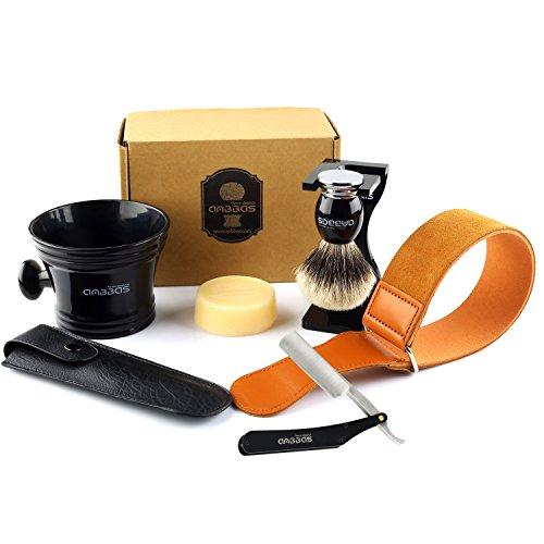 Shaving Brush Silvertip Badger Hair,7pcs Anbbas Shaving Set with Black Acrylic Brush Holder,Shaving Soap 100g,Resin Mug,Stainless Steel Straight Razor,Leather Travel Bag and Razor Strop for Men