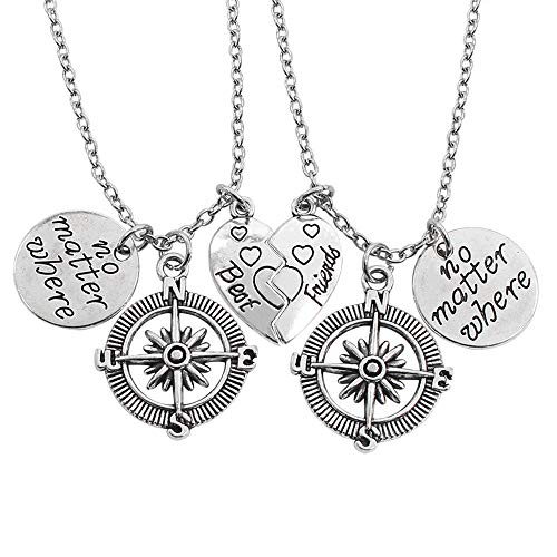 QXFQJT Friendship Compass Necklace with Meaning (Boy Girl Best Friend Jewelry)