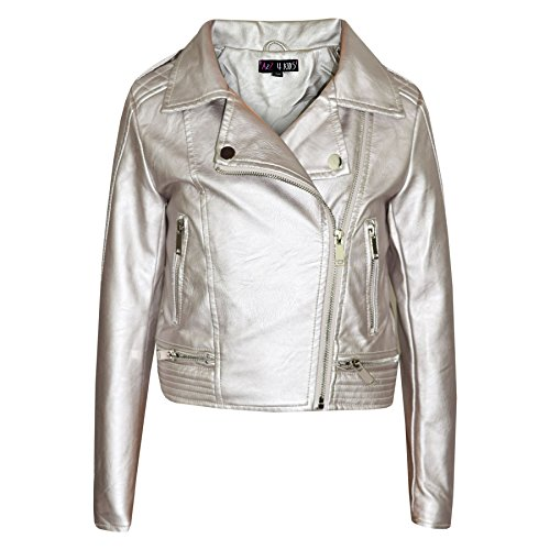 A2Z 4 Kids® Girls Jackets Kids PU Faux Leather Metallic Silver Jacket Zip up Biker Coat ()