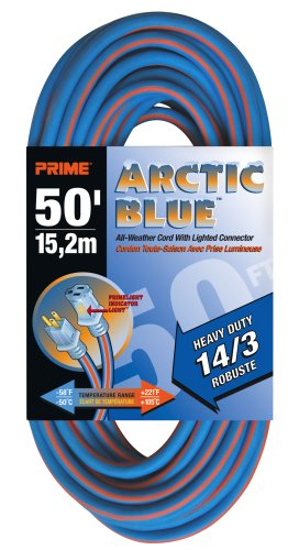 Prime LT530730 Heavy Duty 50-Foot Artic Blue All-Weather TPE Extension Cord