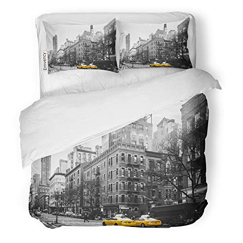 Emvency Decor Duvet Cover Set King Size White of Yellow Cabs at Upper West Site Manhattan New York City Black Taxi Side 5Th 3 Piece Brushed Microfiber Fabric Print Bedding Set Cover -