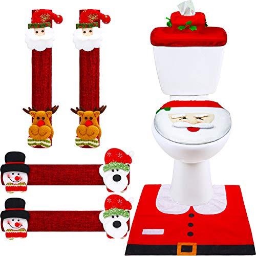 Boao 7 Pieces Christmas Decorations Set Snowman Refrigerator Handle Door Covers, Christmas Snowman Santa Toilet Seat…