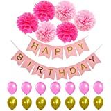 Happy Birthday Banner PomPom Decorations - Perfect Party Supplies Kit, Pink Gold Foiled Bunting Flag Garland and Hot Pink & Light Pink Tissue Paper Fluffy Pom Poms Hot Pink,Baby Pink Balloons Girl Boy