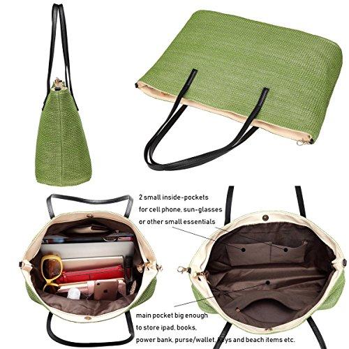 Bags Handbag Green handle Tote Bag Women Defeng Weekender Top Beach Hobos Vacation Shoulder Straw OnYZA