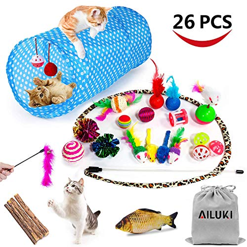 Feather Care - AILUKI 26PCS Cat Toys Kitten Toys Assortments, Variety Catnip Toy Set Including 2 Way Tunnel,Cat Feather Teaser,Catnip Fish,Mice,Colorful Balls and Bells for Cat,Puppy,Kitty