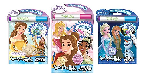 Bundle of 3 Imagine Ink Activity Books - Princess Featuring Belle & Frozen Magic Pictures, Princess Mess Free Game Book