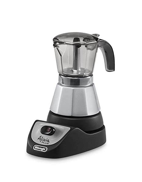 DeLonghi Alicia EMKM 4 - Cafetera independiente, semi-automática, 450 W, 2-4 tazas, metal, negro/plata/transparente