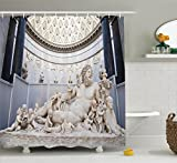 Ambesonne Sculptures Decor Collection, A Roman Sculpture Lying in the Vatican Museums Christianity Famous Antique Style Art, Polyester Fabric Bathroom Shower Curtain, 75 Inches Long, Ivory Grey