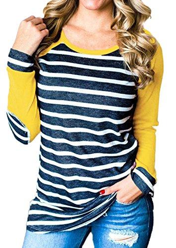 Et T Femme Fashion Svelte Tops Jours Shirts Blouse Chemisiers Longues Rond a Manches de Shirt Rayure Tunique Haut Col Epissure Tous Les Jaune Sweat Casual rr8Cw6q