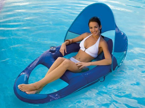 SwimWays Spring Pool Float Recliner with Canopy - 2 Pack