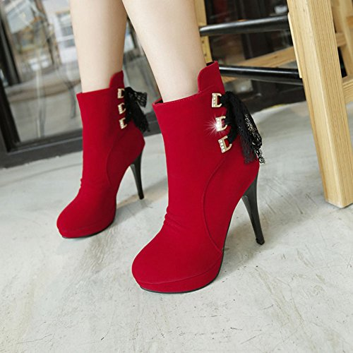 CHFSO Womens Elegant Stiletto Solid Round Toe Charms Rivet High Heel Platform Boots Red 5rpjPzkXI