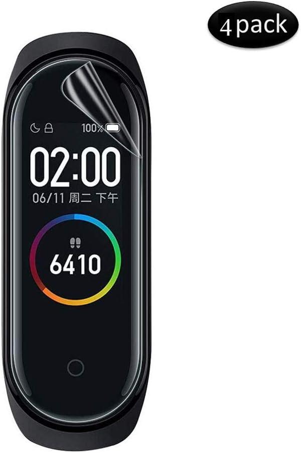 KONEE Protector de Pantalla para Xiaomi Mi Band 4, 【4 Piezas】 [ Pet Película Suave] Película Protectora Anti-Arañazo de Alta Definición Ultra Delgado TPU para el Reloj Xiaomi Mi Band 4