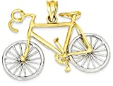 ICE CARATS 14k Large Two Tone Yellow Gold 3 D Bicycle Pendant Charm Necklace Travel Transportation Fine Jewelry Gift Set For Women Heart