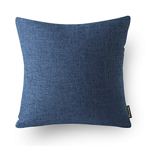 Phantoscope Decorative Textural Faux Linen Series Throw Pillow Case Cushion Cover Navy Blue 22