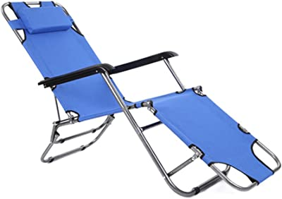 LXJYMXCreative Lounge Chair Folding Chair, Recliner Bed, Office Simple Bed, Portable Camping Folding Chair, Beach Bed @ (Color : Blue)