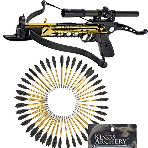 Crossbow Self-Cocking 80 LBS by KingsArchery® with Hunting Scope, and a Total of 63 Aluminim Arrow Bolts + KingsArchery® Warranty