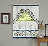 Lovebirds & Butterflies Kitchen Curtain 36″ Tier Pair & 30″ Swag Set