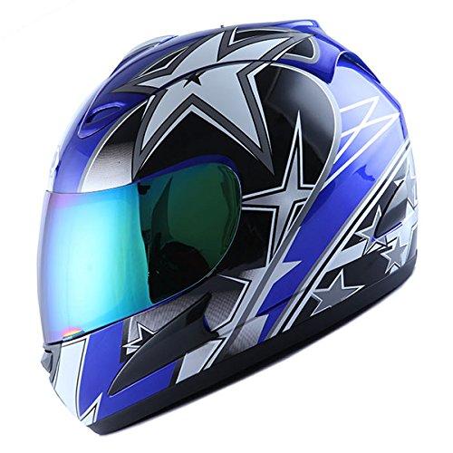 (WOW Motorcycle Full Face Helmet Street Bike Racing Star Blue)