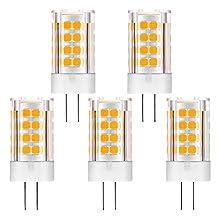 KINDEEP G4 LED Bulb, 5W (40W Incandescent Bulb Equivalent), DC/AC 12V, Warm White 3000K, 5-Pack (for Camper RV Boat Light)