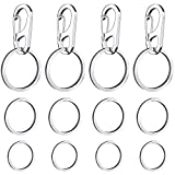 4 Pack Dog Tag Clips, Easy Change Pet ID Tag Holders with Rings for Dogs and Cats & Collars and Harnesses