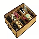 Ramsay Under the Bed Shoe Storage Organizer 12 Pair Front Zippered Closure