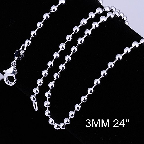 Xiaodou 925 Sterling Silver 3mm Moon Cut Bead Chain Crafted Ball Bead Necklace- Perfect for Pendants or Alone (16 Inch)