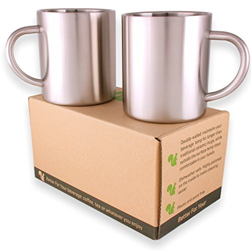 Stainless Steel Double Wall Coffee Mugs/Tea Cups, Set of 2, 13.5oz (400ml) by Better For Your
