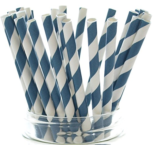 Navy-Blue-Old-School-Pinstriped-Drinking-Straws-25-Pack--Paper-Party-Straws-Navy-Blue-Striped-Straws