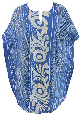 LA LEELA Cotton Batik Short Caftan Dress Women Blue_1593 OSFM 10-18W [M-2X] by LA LEELA