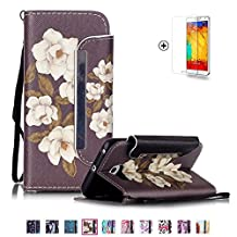 Samsung Galaxy S4 Case [with Free Screen Protector], Funyye Classic Folio PU Leather Wallet Lanyard Strap Detachable Flip Magmetic Closure Stand Function Book Style with Credit Card Holder Slots Fashion Drawing Patterns for Samsung Galaxy S4 Case Cover - Begonia Flowers