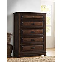 Roundhill Furniture B179C Broval 179 Light Espresso Finish Wood 5 Drawers Chest, NA