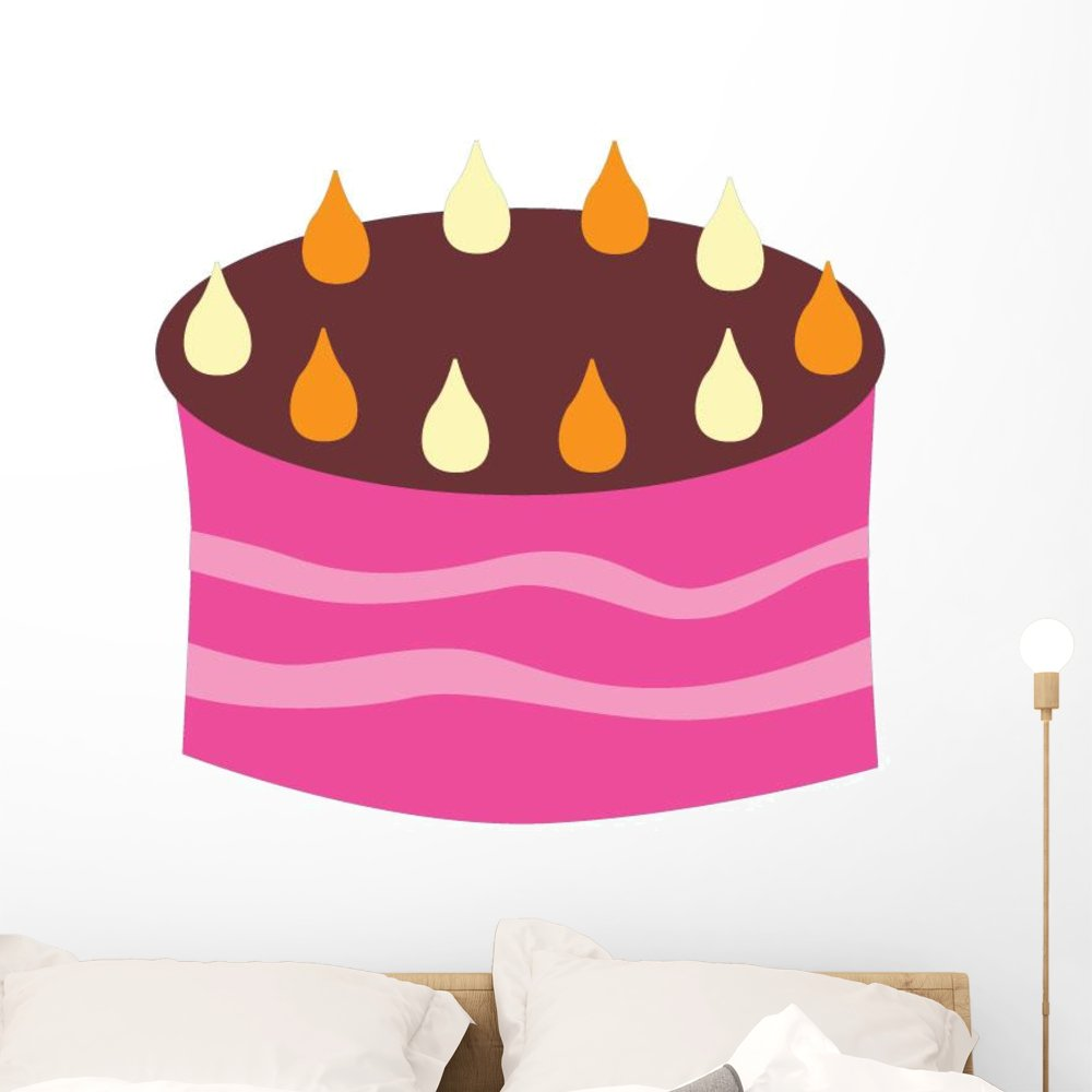 Amazon Pink Birthday Cake With Wall Decal Wallmonkeys Peel And Stick Graphic 48 In W X 34 H WM332890 Kitchen Dining