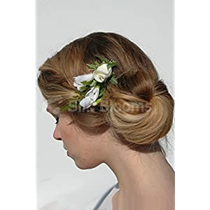 Real Touch Ivory Rose & White Freesia Artifcial Wedding Haircomb