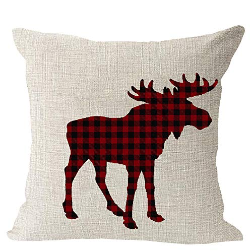 Animal Moose Red and Black Chess Plaid Scottish Buffalo Cotton Linen Square Throw Waist Pillow Case Decorative Cushion Cover Pillowcase Sofa 18