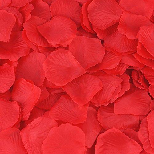 [HCSTAR 300pcs Silk Rose Petals Artificial Flower Wedding Party Vase Home Decor Bridal Petals Rose Favors,] (Hair Bows Finger)