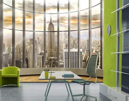 Fototapete fensterblick skyline  Fototapete Sicht aus dem Fenster auf Empire State Building in ...